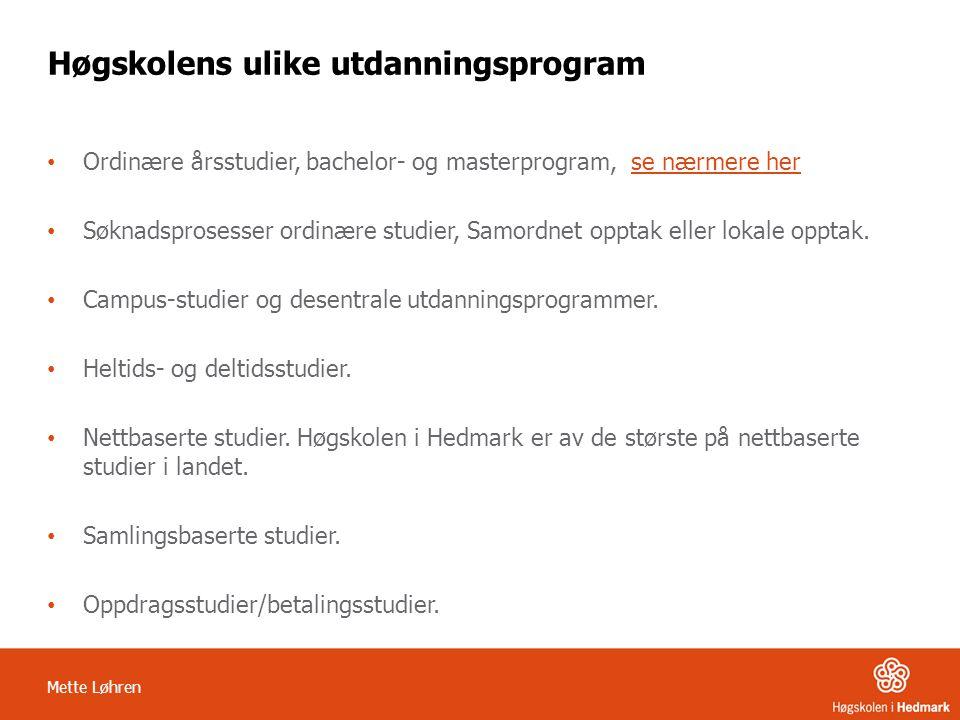 Høgskolens ulike utdanningsprogram