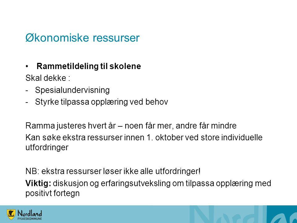 Økonomiske ressurser Rammetildeling til skolene Skal dekke :