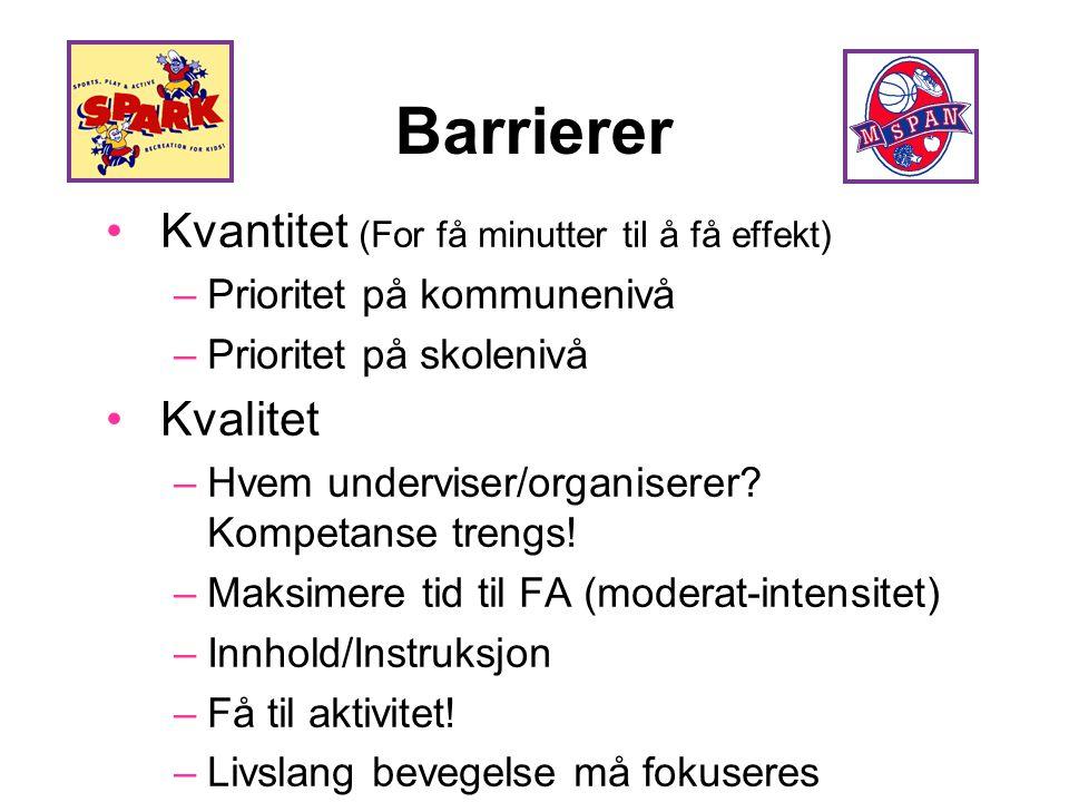 Barrierer Kvantitet (For få minutter til å få effekt) Kvalitet