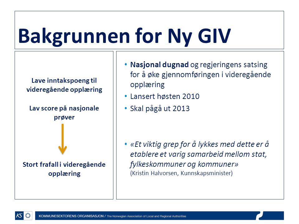 Bakgrunnen for Ny GIV Nasjonal dugnad og regjeringens satsing for å øke gjennomføringen i videregående opplæring.