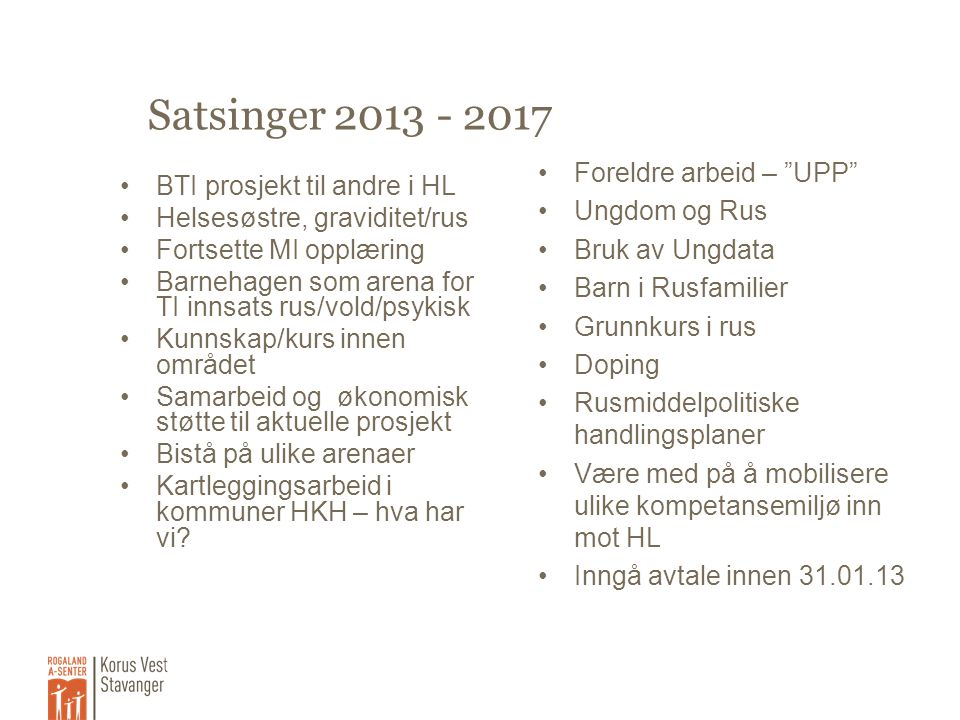 Satsinger 2013 - 2017 Foreldre arbeid – UPP Ungdom og Rus