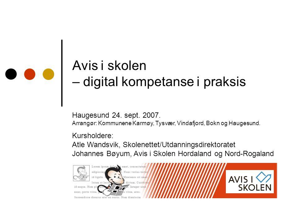 Avis i skolen – digital kompetanse i praksis