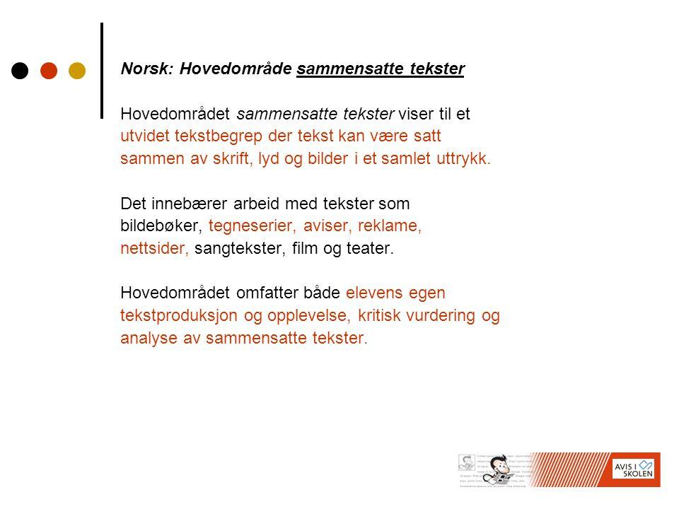 Norsk: Hovedområde sammensatte tekster