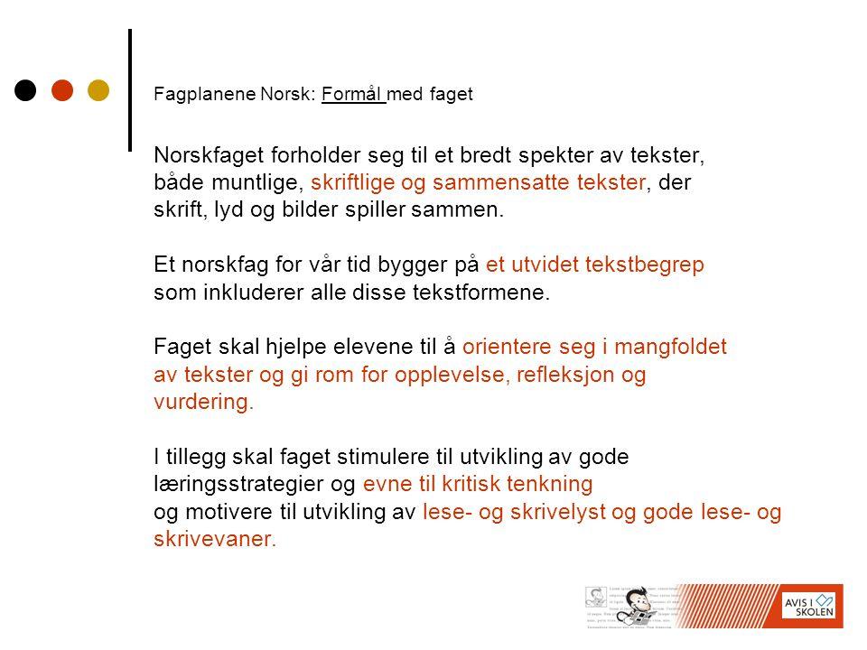 Fagplanene Norsk: Formål med faget