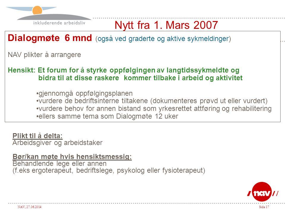 Nytt fra 1. Mars 2007 Dialogmøte 6 mnd (også ved graderte og aktive sykmeldinger) NAV plikter å arrangere.