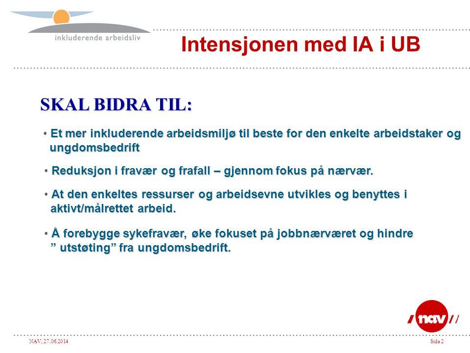 Intensjonen med IA i UB SKAL BIDRA TIL:
