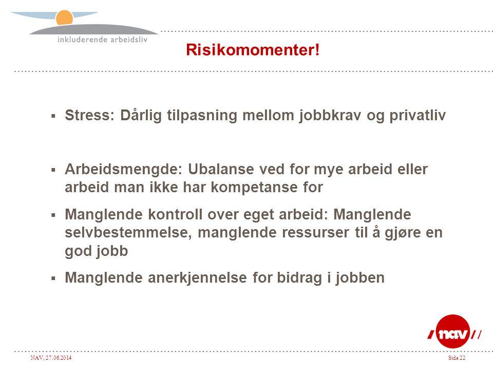 Risikomomenter! Stress: Dårlig tilpasning mellom jobbkrav og privatliv