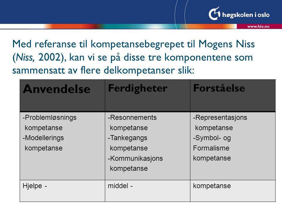Med referanse til kompetansebegrepet til Mogens Niss (Niss, 2002), kan vi se på disse tre komponentene som sammensatt av flere delkompetanser slik: