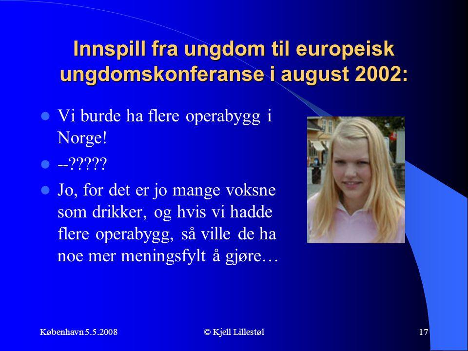 Innspill fra ungdom til europeisk ungdomskonferanse i august 2002: