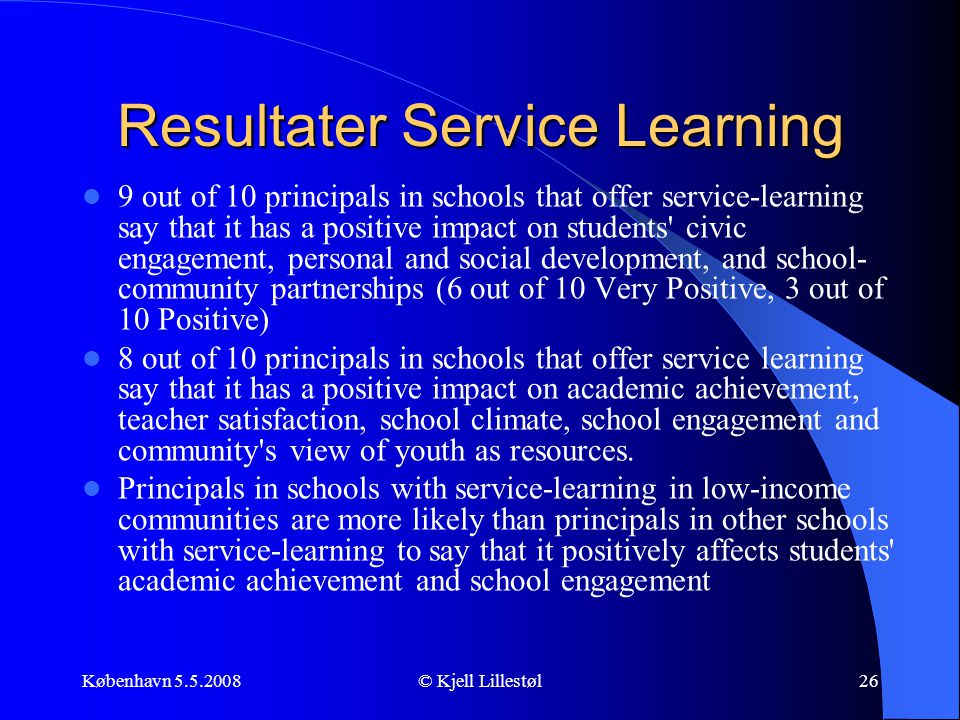 Resultater Service Learning