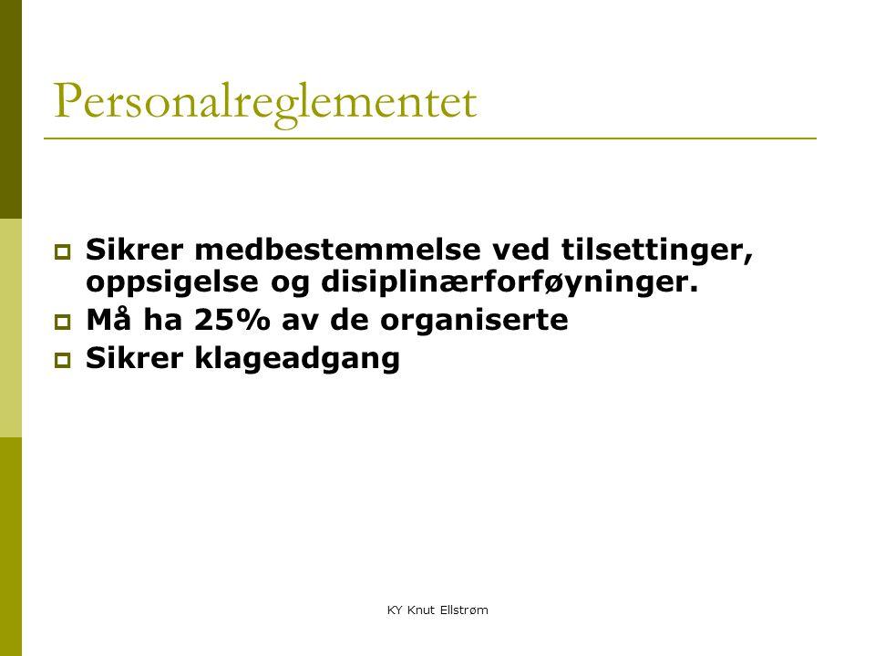 Personalreglementet Sikrer medbestemmelse ved tilsettinger, oppsigelse og disiplinærforføyninger. Må ha 25% av de organiserte.
