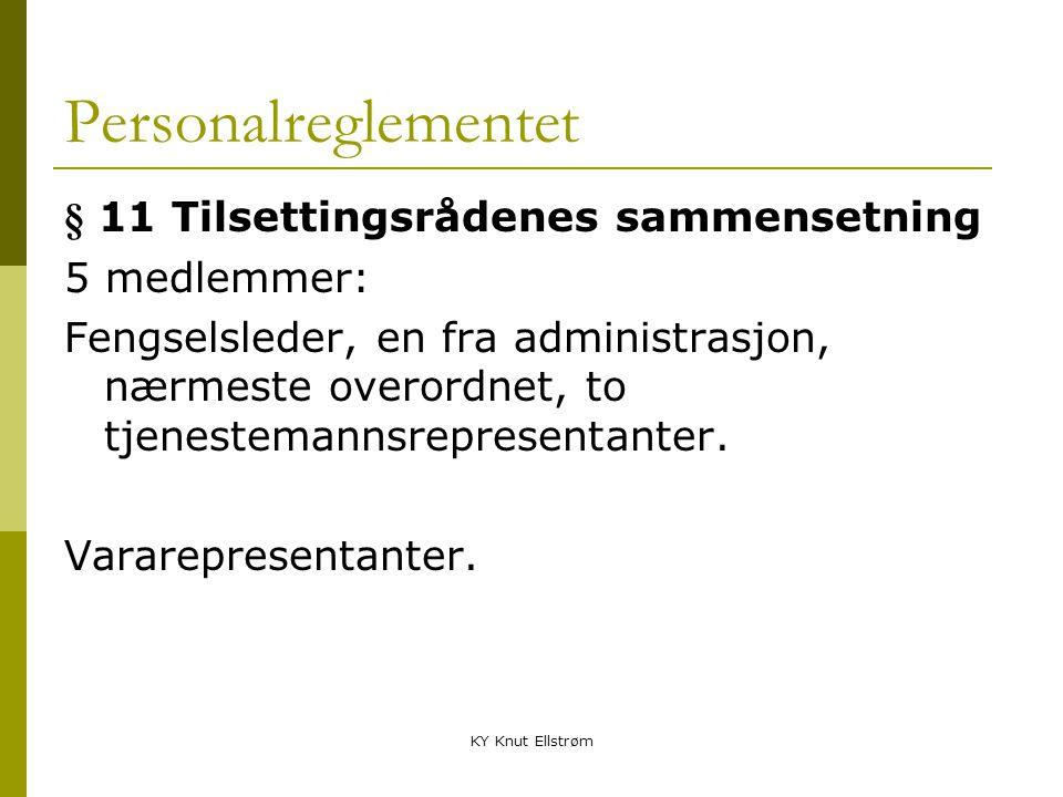 Personalreglementet § 11 Tilsettingsrådenes sammensetning 5 medlemmer: