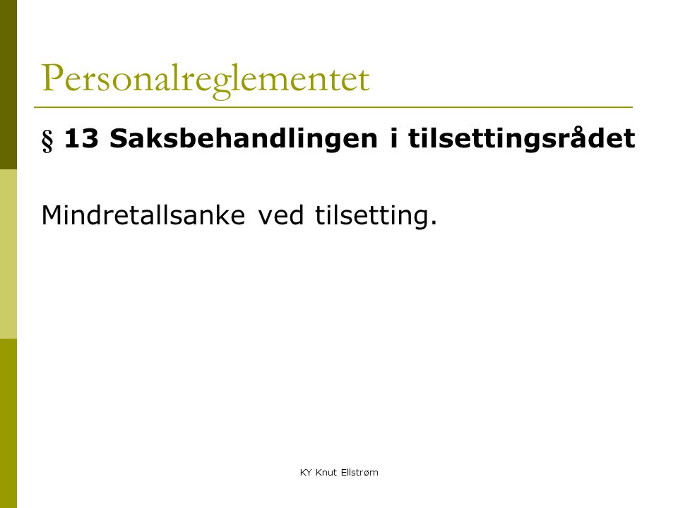 Personalreglementet § 13 Saksbehandlingen i tilsettingsrådet
