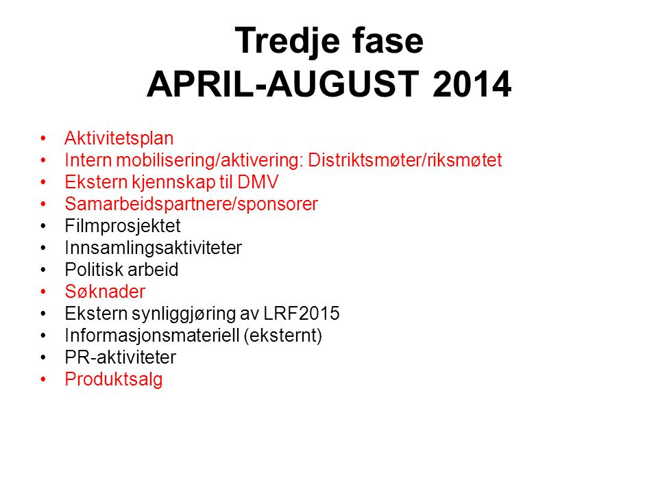 Tredje fase APRIL-AUGUST 2014