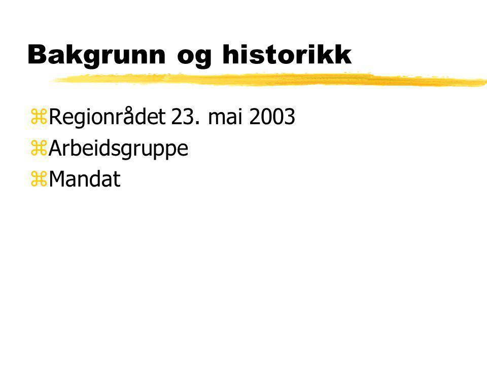 Bakgrunn og historikk Regionrådet 23. mai 2003 Arbeidsgruppe Mandat