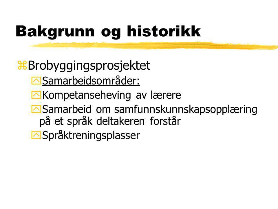 Bakgrunn og historikk Brobyggingsprosjektet Samarbeidsområder: