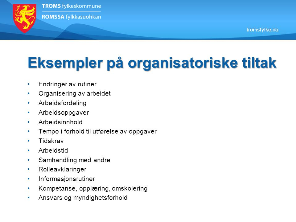 Eksempler på organisatoriske tiltak