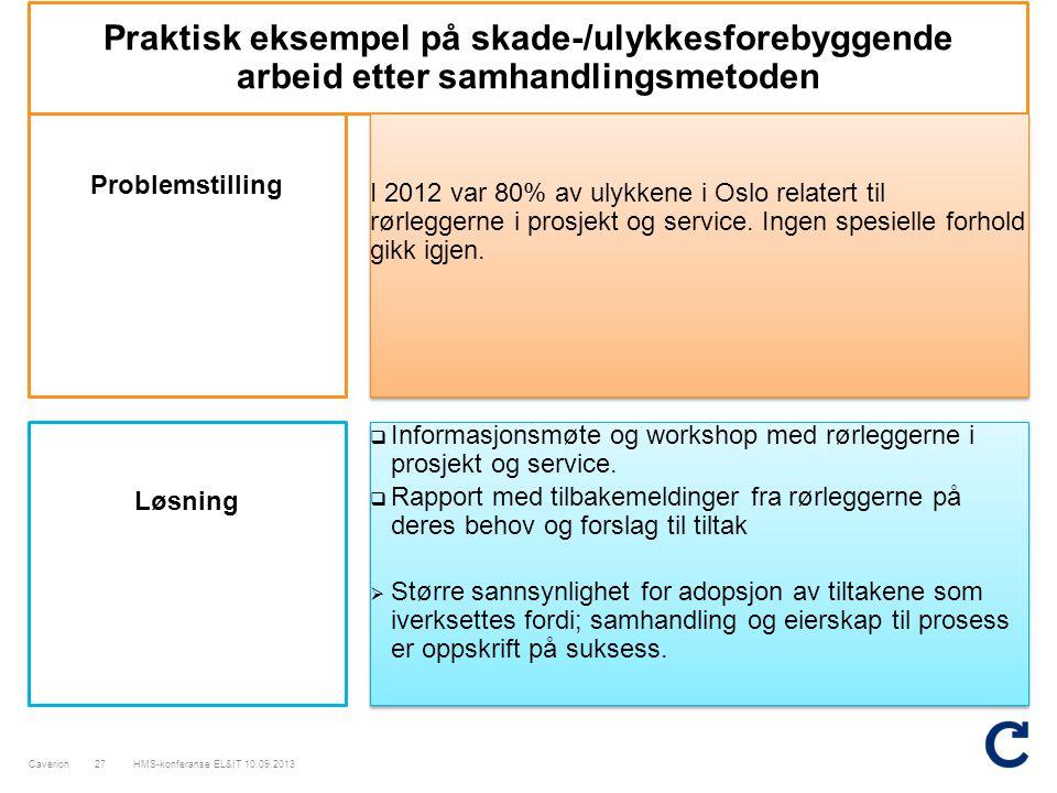 Praktisk eksempel på skade-/ulykkesforebyggende arbeid etter samhandlingsmetoden