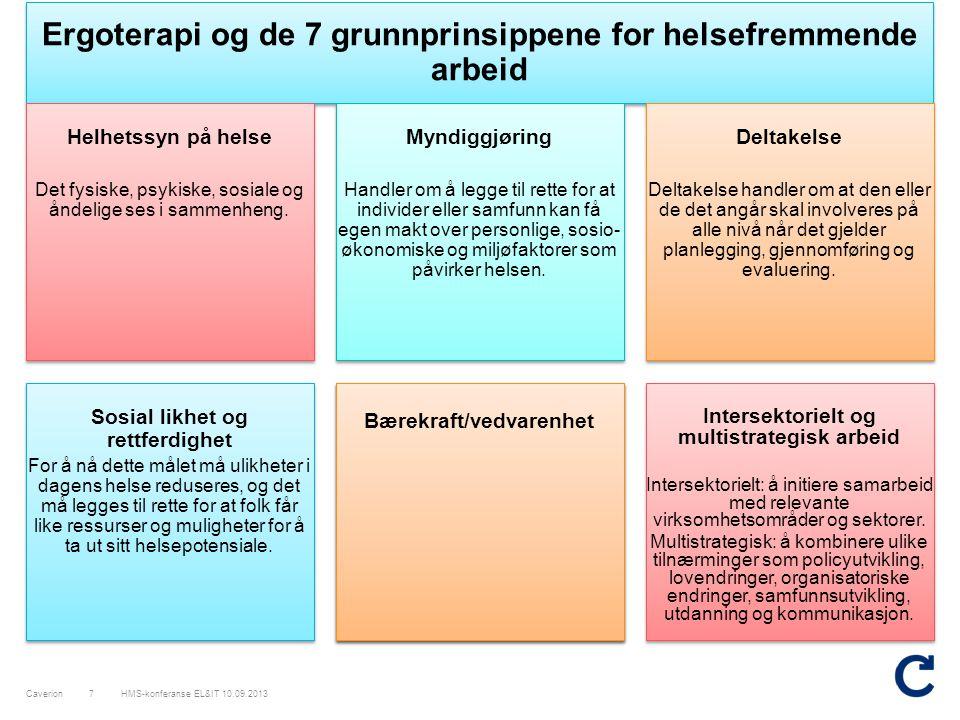 Ergoterapi og de 7 grunnprinsippene for helsefremmende arbeid