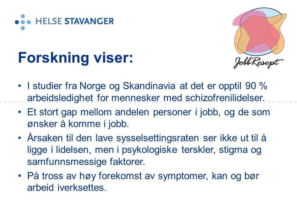 Forskning viser: I studier fra Norge og Skandinavia at det er opptil 90 % arbeidsledighet for mennesker med schizofrenilidelser.