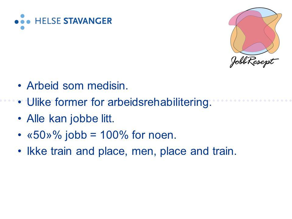 Arbeid som medisin. Ulike former for arbeidsrehabilitering. Alle kan jobbe litt. «50»% jobb = 100% for noen.