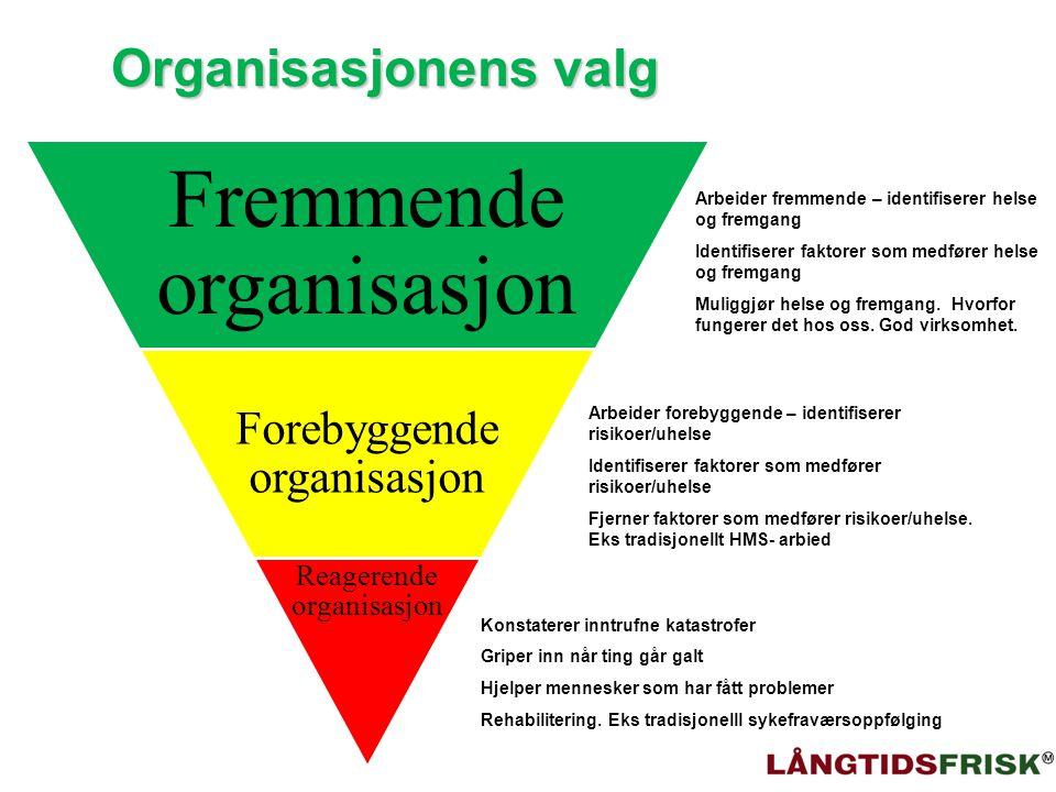 Organisasjonens valg Forebyggende organisasjon Reagerende organisasjon