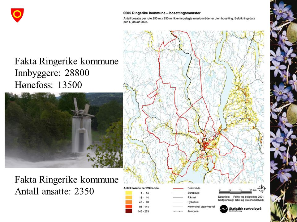Fakta Ringerike kommune Innbyggere: 28800 Hønefoss: 13500
