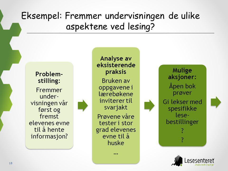 Eksempel: Fremmer undervisningen de ulike aspektene ved lesing