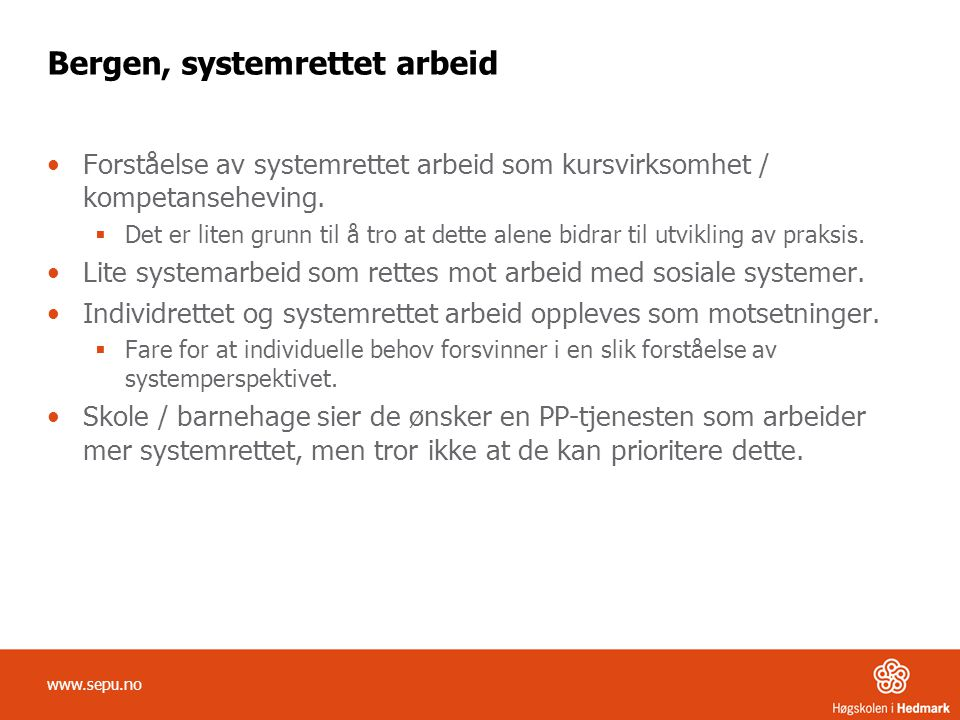 Bergen, systemrettet arbeid
