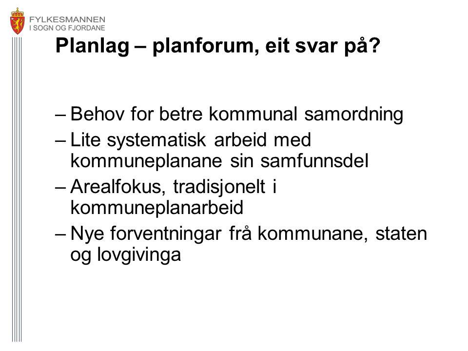Planlag – planforum, eit svar på