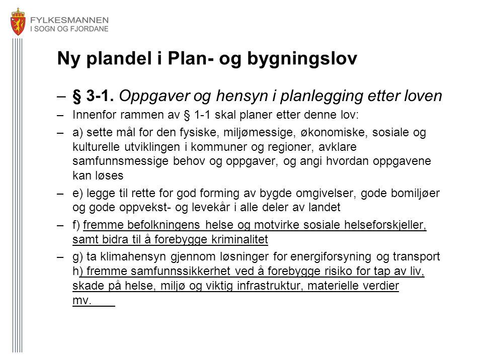 Ny plandel i Plan- og bygningslov