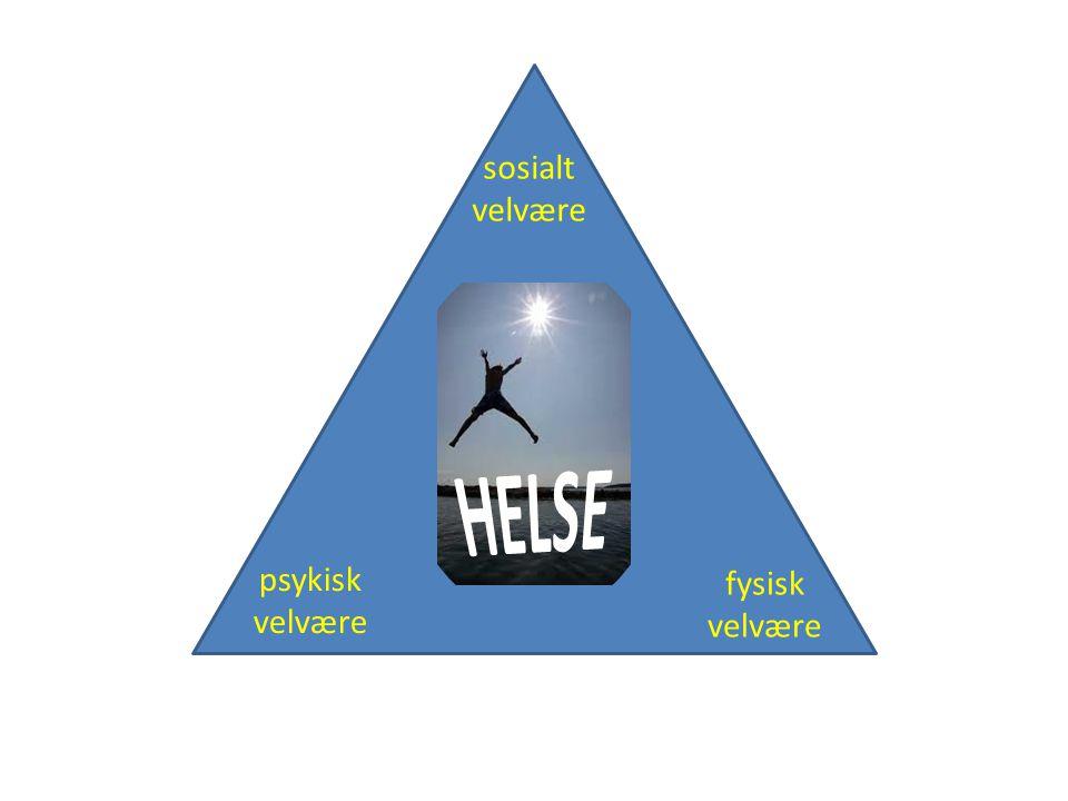psykisk velvære fysisk velvære sosialt velvære HELSE