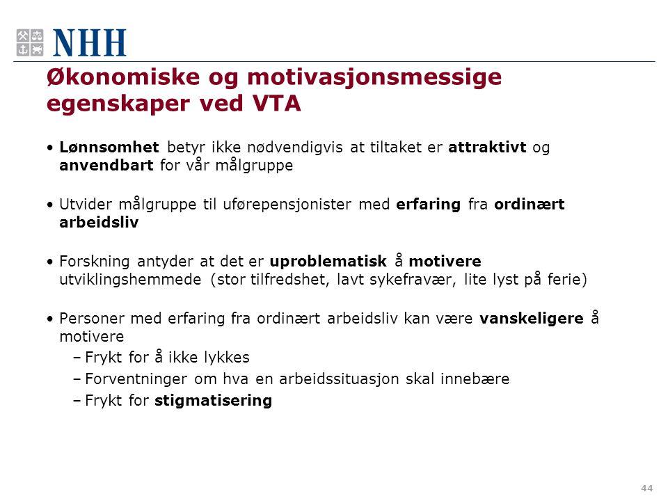 Økonomiske og motivasjonsmessige egenskaper ved VTA