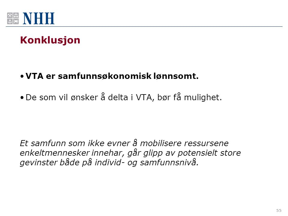 Konklusjon VTA er samfunnsøkonomisk lønnsomt.