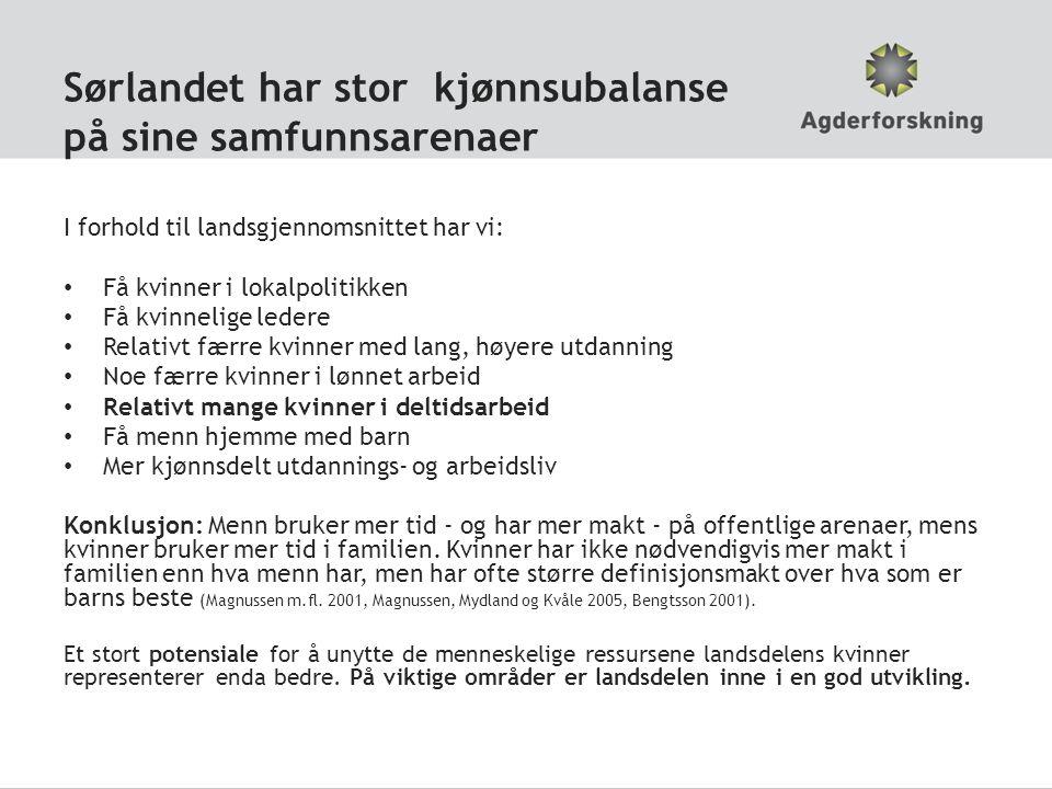 Sørlandet har stor kjønnsubalanse på sine samfunnsarenaer