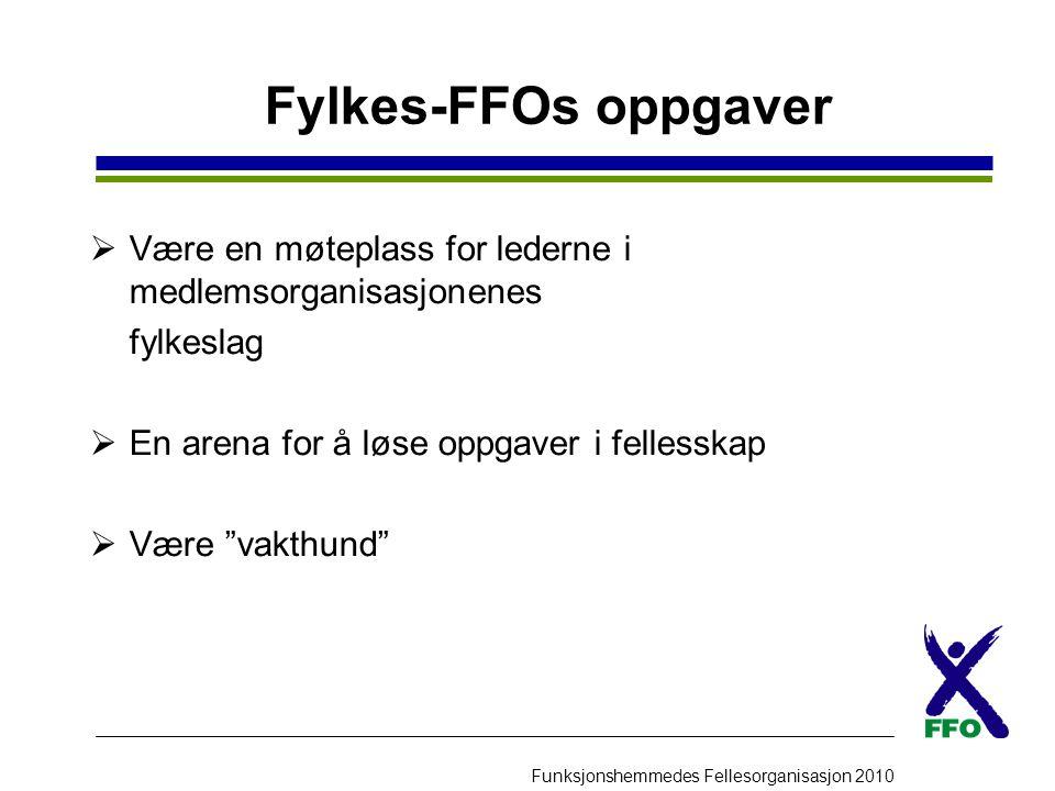 Fylkes-FFOs oppgaver Være en møteplass for lederne i medlemsorganisasjonenes. fylkeslag. En arena for å løse oppgaver i fellesskap.