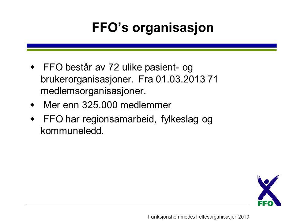 FFO's organisasjon FFO består av 72 ulike pasient- og brukerorganisasjoner. Fra 01.03.2013 71 medlemsorganisasjoner.