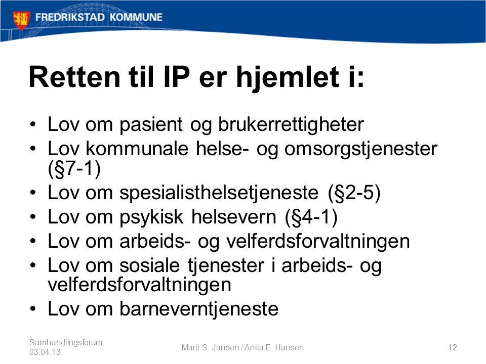 Retten til IP er hjemlet i: