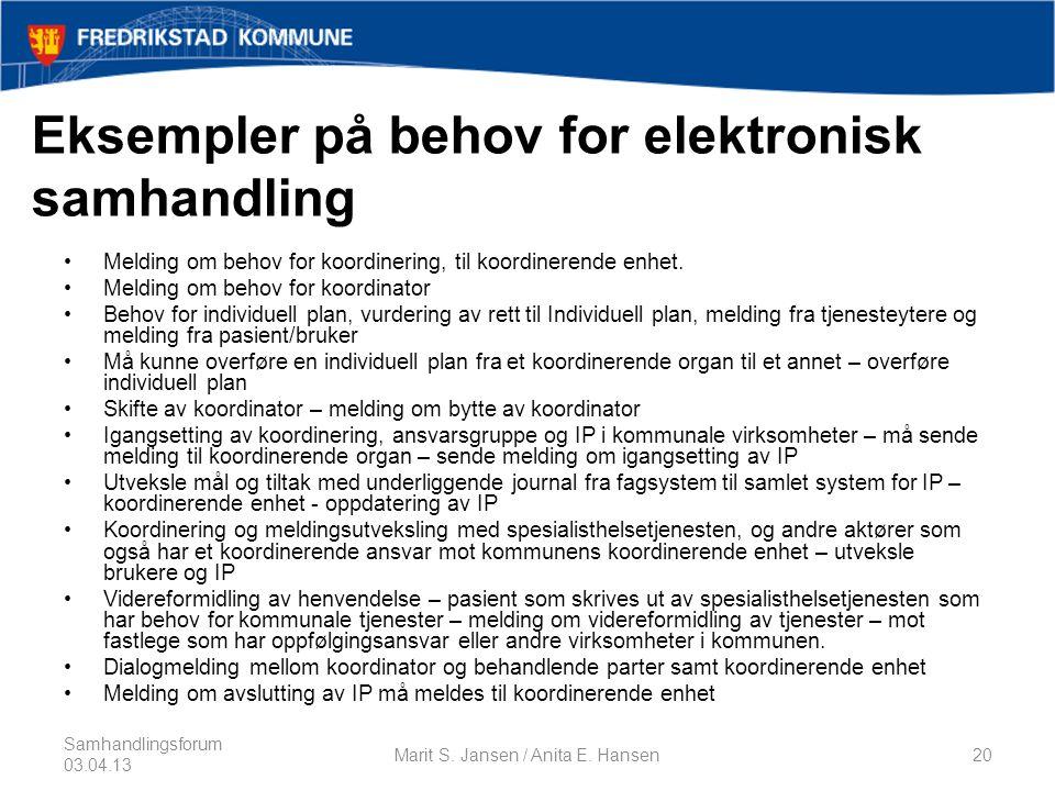 Eksempler på behov for elektronisk samhandling