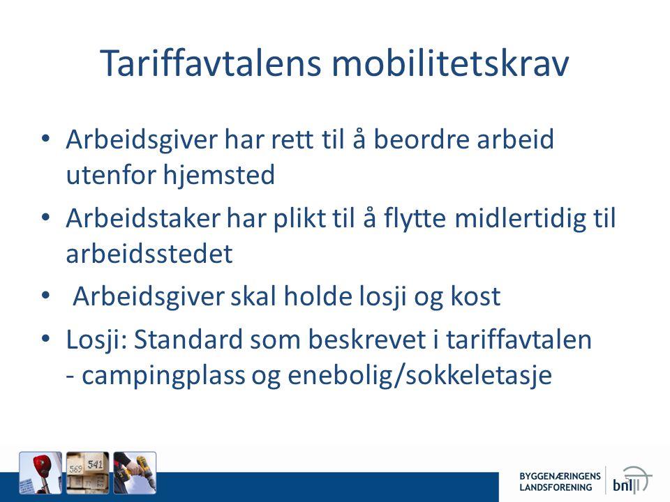 Tariffavtalens mobilitetskrav