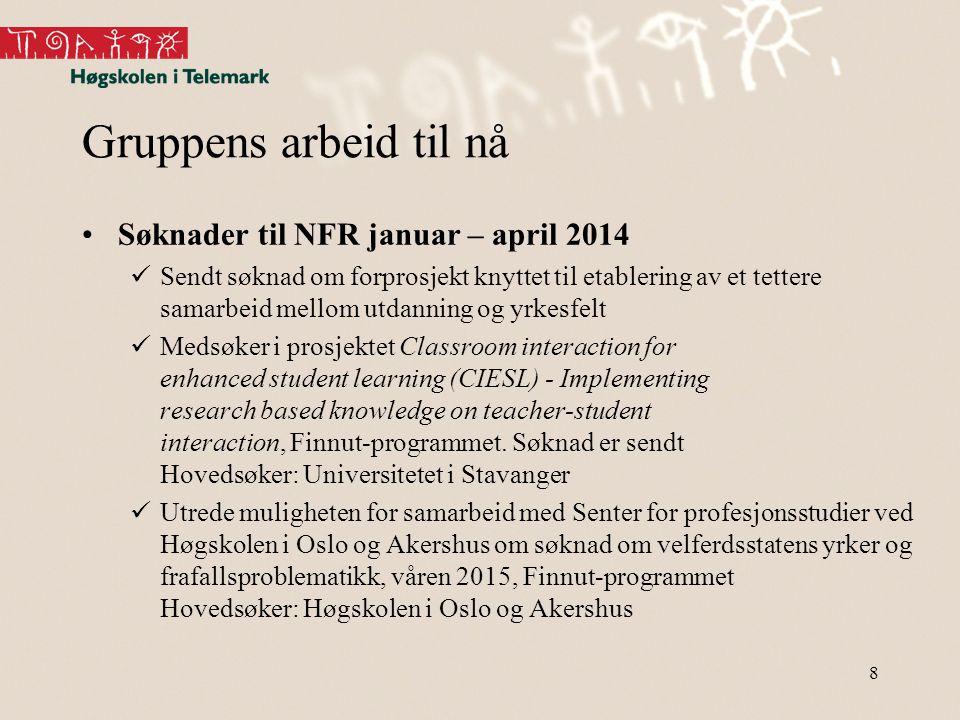 Gruppens arbeid til nå Søknader til NFR januar – april 2014