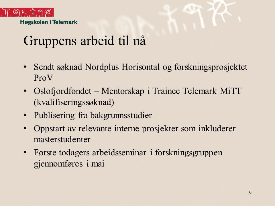Gruppens arbeid til nå Sendt søknad Nordplus Horisontal og forskningsprosjektet ProV.