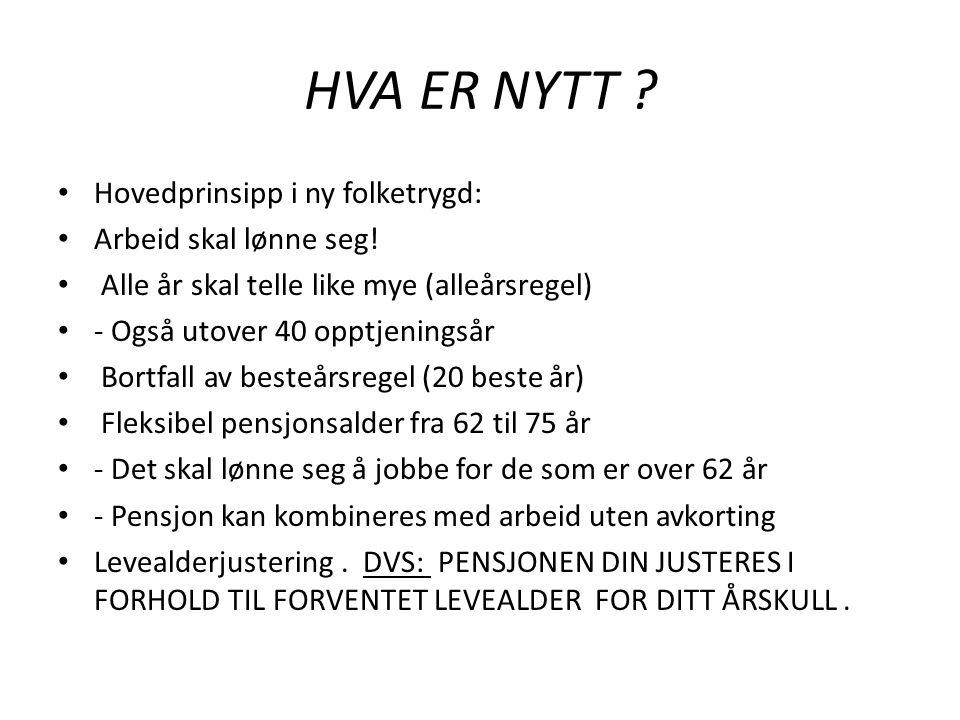 HVA ER NYTT Hovedprinsipp i ny folketrygd: Arbeid skal lønne seg!