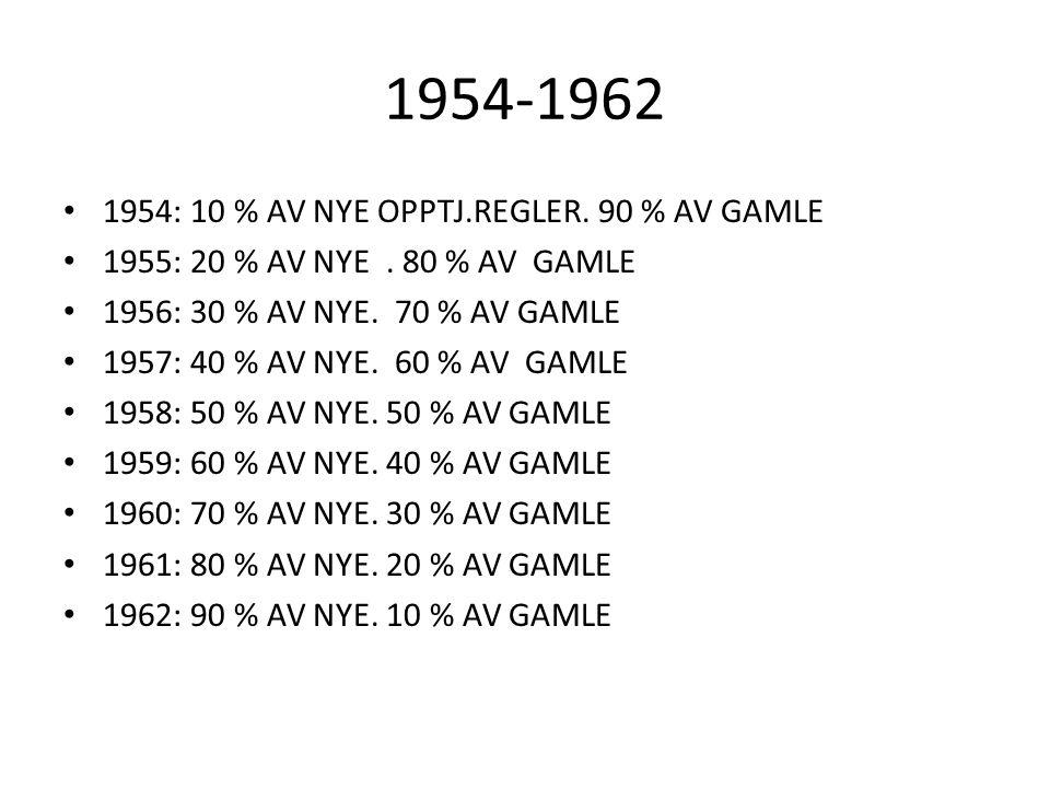 1954-1962 1954: 10 % AV NYE OPPTJ.REGLER. 90 % AV GAMLE