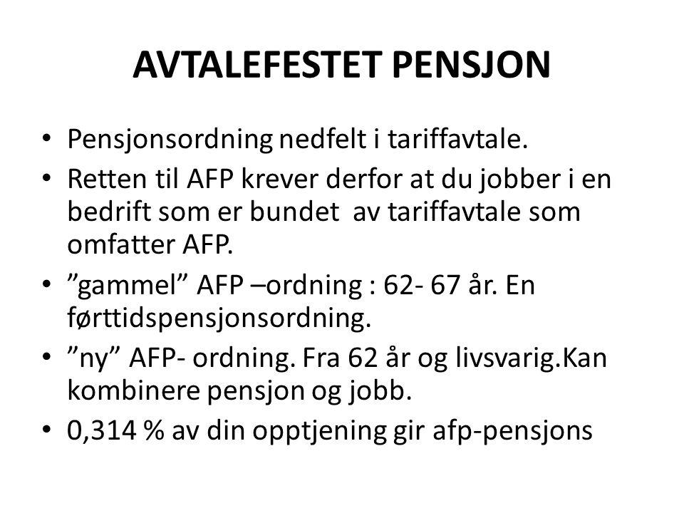 AVTALEFESTET PENSJON Pensjonsordning nedfelt i tariffavtale.
