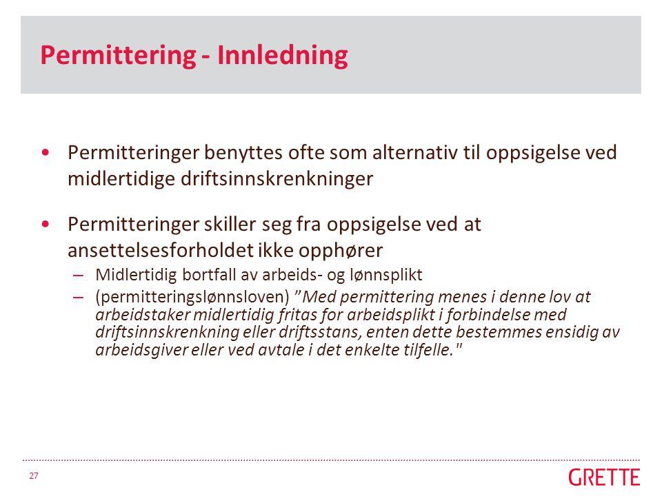 Permittering - Innledning