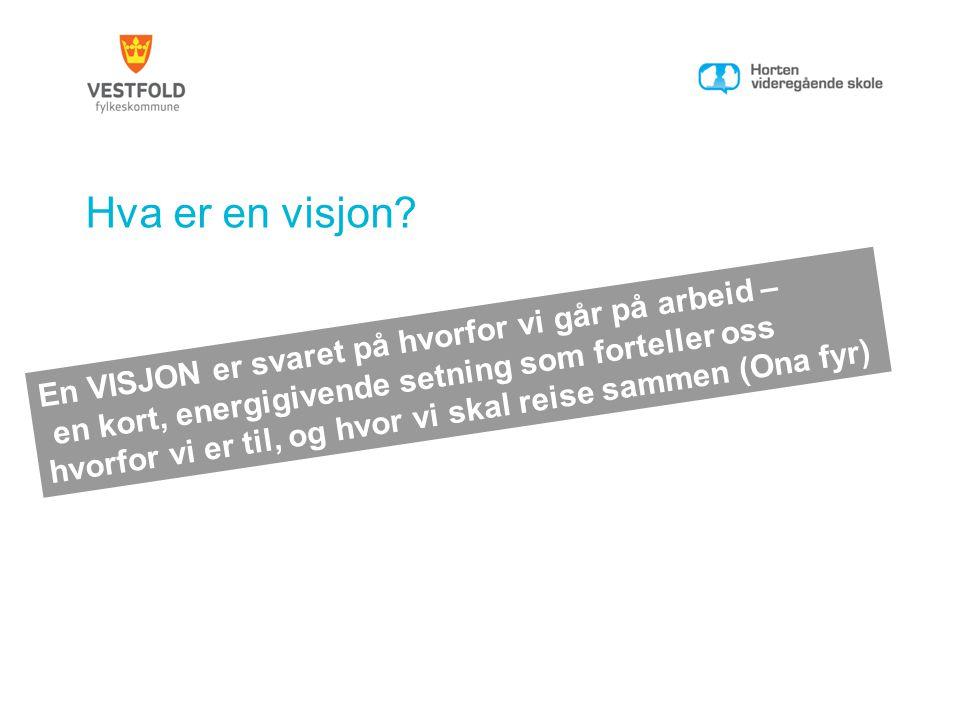 Hva er en visjon En VISJON er svaret på hvorfor vi går på arbeid –