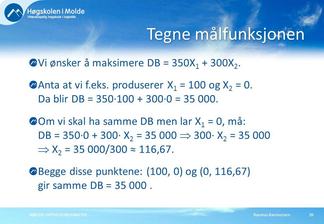 Tegne målfunksjonen Vi ønsker å maksimere DB = 350X1 + 300X2.