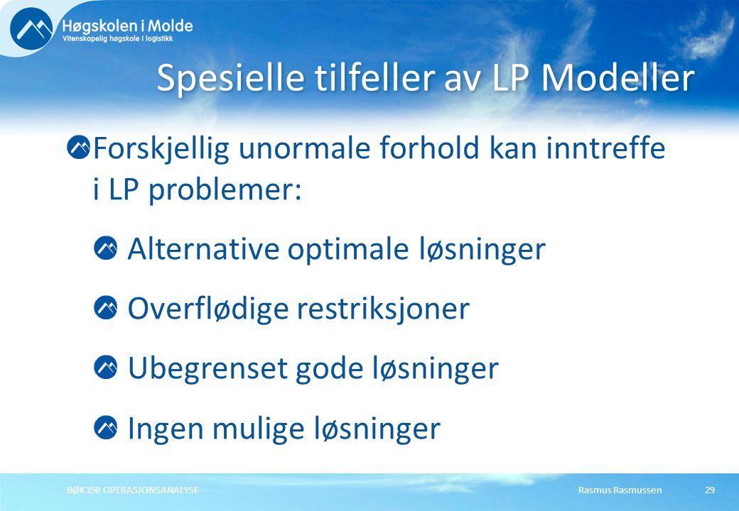 Spesielle tilfeller av LP Modeller