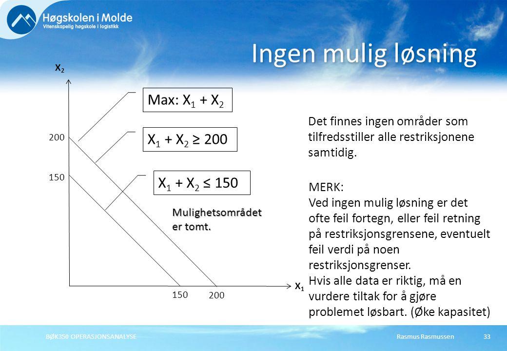 Ingen mulig løsning Max: X1 + X2 X1 + X2 ≥ 200 X1 + X2 ≤ 150